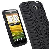 igadgitz Schwarz Silikon Skin Tasche Hülle mit Reifen Profil für HTC One X S720e & HTC One X+ Plus Smartphone Handy + Display Schutzfolie