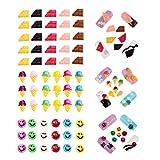 Amazing Deal fantastico set di 61PCS professionale di alta qualità carino nail art 3D decorazioni in Smileys facce, barrette di cioccolato e gelato coni forme e molti diversi colori di VAGA