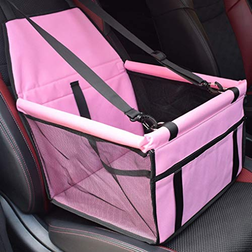 WeishenG Völlig zusammengeklappte Haustierwagen Booster Sitz Puppy Cat Dog Auto Carrier Travel Protector Basket(None pink.) -