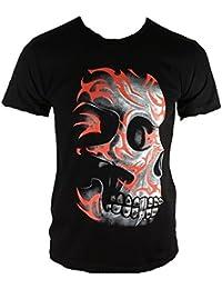 ticila–Camiseta para hombre tribal tattoo Hardcore Skull Head Biker Rock Star Heavy Metal Remaches Martillo notebook negro