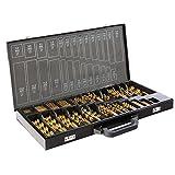 Arebos Spiralbohrer für Metall 230 teilig/Auch für Kunstoff und Holz/Titan-Nitrid-Beschichtung/Mit Zwischengrößen 1-13 mm