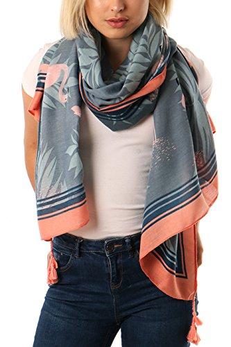 Style Slice Damen Schal Frühling Sommer mit Tropischen Blättern und Flamingos, Blau, Rosa, Tuch, Tücher, Groß XXL Schal, Elegante Weiche Leichte Schals, Geschenk für sie