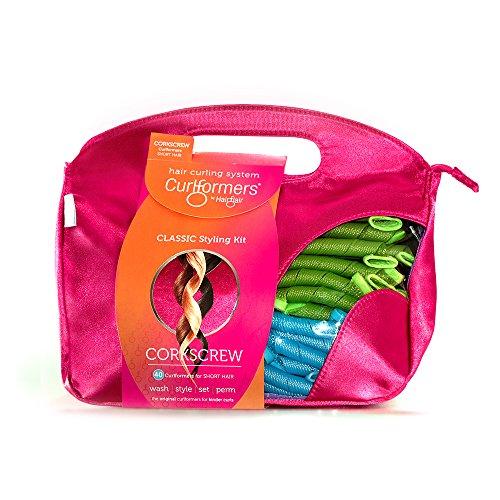 Curlformers - Lockenstyling-Set für Korkenzieherlocken - für kurzes Haar bis zu einer Länge von 20 cm - ohne Hitze - mit 40 Lockenwicklern und 2 Stylinghaken