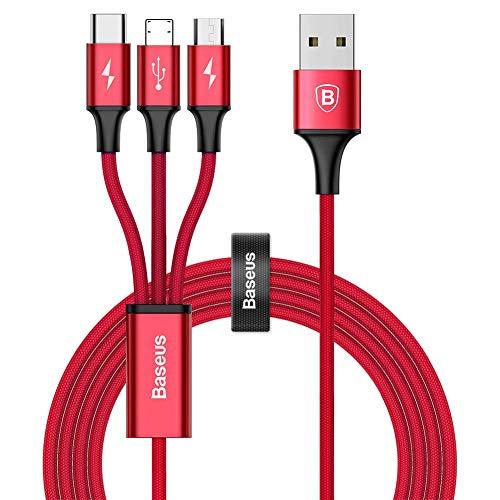 Multi Cavo di Ricarica, Baseus 3 in 1 4FT/1.2M 3A Fulmine/Micro USB/USB Tipo C in Nylon Intrecciato per Nexus 6P 5X/Google Pixel/Samsung Galaxy/HUAWEI/Honor/Xiaomi/LG