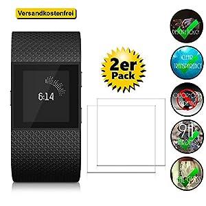 [2er Pack] Panzerglas für Fitbit Surge gehärtetes Glas 9H, Echtglas Uhr Watch Smartwatch Glas Folie Display Schutz Panzerfolie Displayschutz Glasfolie Schutzfolie