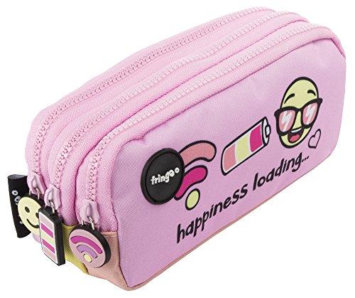 Estuche para lápices de 3 compartimentos FRINGOO, para niños, divertido y bonito, color Happiness Loading - 3 Compartments Large