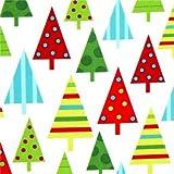 weißer Robert Kaufman Weihnachtsstoff mit Tannenbaum