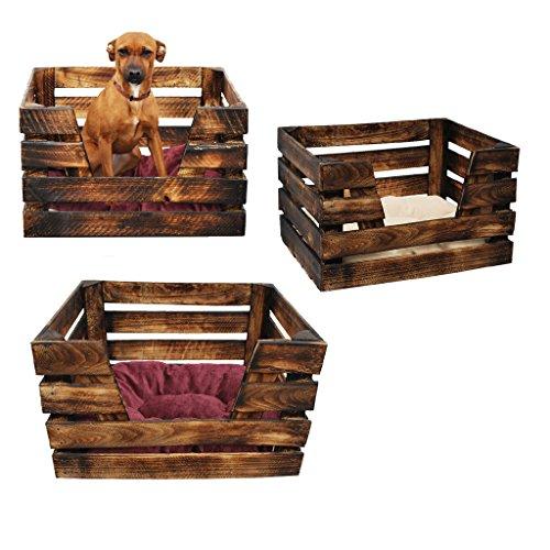 *K5 Katzenkorb / Katzenbett aus Holz von GalaDis mit Kissen / Hundebett / Wurfkiste – Shabby Chic / Landhaus*