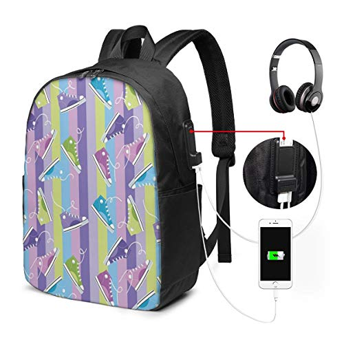 Backpack,Different Colored Sneakers On Vertically Striped Backdrop Youth Footwear Fashion