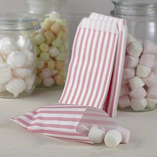 Ginger Ray Rosa-weiß Gestreiften Zucker Süßen Taschen - Vintage-Spitze