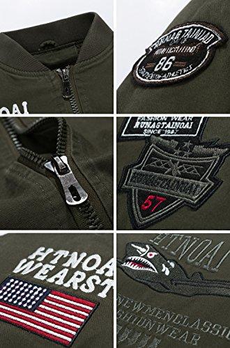 INFLATION Herren Vintage Uniform Übergangsjacke Militär Stil Bomber Jacke Pilot Jacke mit Schulterstück Stehkragen 3 Farben, DE S-3XL Army Grün