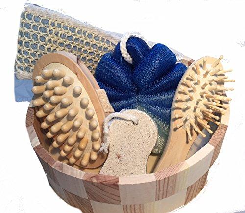 Geschenkeset Badezimmer, Sauna,6 teilig, blau/braun Set Holz rund 22x22x7cm Luffaschwamm, Bürste, Schwamm, Stein Saunaset