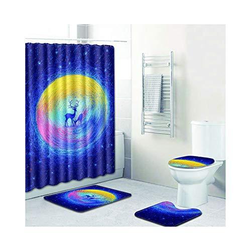 SonMo 4-Teiliges Duschvorhang Set Bad-Teppiche Toilette Matte Badmatte Polyester Anti-Bakteriell 3D...