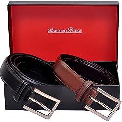 Hombres Ashford Ridge 30mm cinturones de cuero marrón y negro Set de Regalo (cintura tamaños 100cm - 110cm)