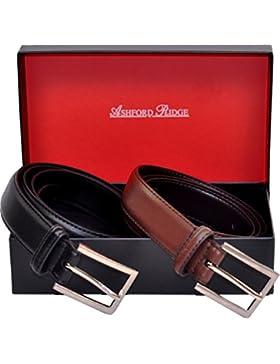 Hombres Ashford Ridge 30mm cinturones de cuero marrón y negro Set de Regalo (cintura tamaños 80cm - 150cm)