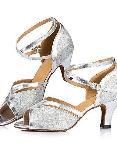 ShangYi Chaussures de danse ( Autre ) - Non Personnalisables - Talon Cubain - Paillette Brillante / Paillette -Latine / Jazz / Moderne / Silver