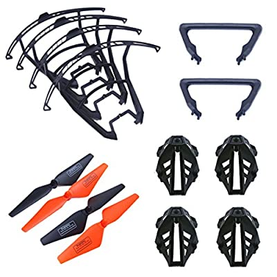 Wwman 4pcs Main Blades Propellers + 4pcs Motor Cover+4pcs Blades Guard Cover + 2pcs Landing Gear For Udi U818S U842 WiFi FPV U842-1 LarkFPV RC Quadcopter Black Drone Spare Parts