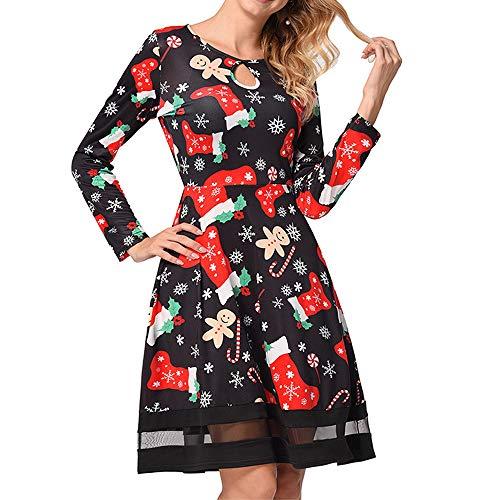 Felicove Damen Kleid,Casual Lace Stitching Langarm Vintage Weihnachten gedruckt Kleid Partykleid Eng...