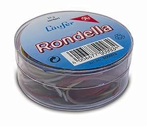 Chemin de 50993RONDELLA anneaux en caoutchouc Tailles assorties, 25g Boîte ronde, multicolore