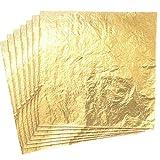 Silithus 100 Blätter Nachahmung Gold Leaf für Kunst, Handwerk Dekoration, Dekoration DIY, Vergoldung Crafting, Frames, 5,5 x 5,5 Zoll (Gold)