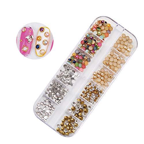 Quaan Muticolor Nagel Pailletten einstellen Lange Box Schmuck Größe Halbkreisförmig Perle