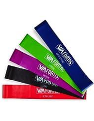 VIA FORTIS Premium Fitness Band Set – 5 Fitnessbänder + Tasche und Anleitung – Widerstandsbänder, Gymnastikbänder, Resistance Band, Gymnastikband, Trainingsband, Loop Bänder, Mini Bands, Übungsbänder