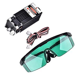 Vogvigo 2.5W 450nm TTL PWM Control Blauer Lasermodul, DC 12V Brennbarer Justierbarer Laserkopf, 100-240V Laserkopf-Graviermodul Brille für DIY Laser Engraver