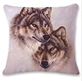 DEFFWB Hot Sale ! 18X18 CM Pillow Case, Exclusive Cute Wolf Tower Sofa Bed Home Decoration Festival Pillow Case Cushion Cover (N)