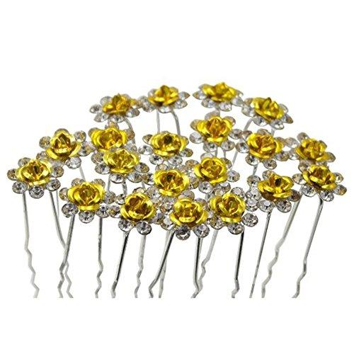 TQWY Haarnadeln/Brautschmuck, modisches Design mit Kunstdiamanten und Perlenimitat, mit Befestigungsclips, Weiß, 20Stück (Yellow Flower Hair Pin)