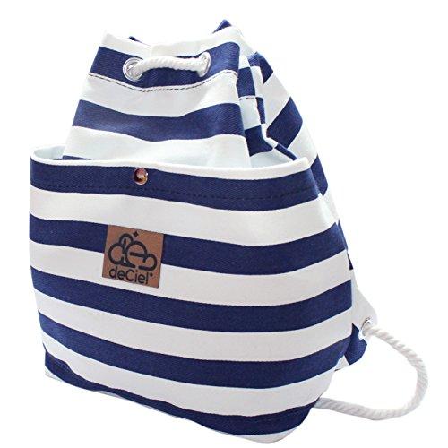 deCiel little Daypack - aus Canvas - Baumwolle Style Rucksack Gymbag Sportbeutel Hipster Fashion (Blau / Streifen) (Natürliche Baumwoll-canvas Rucksack)