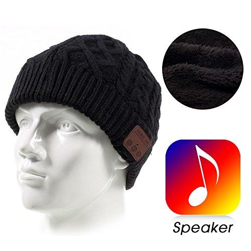 LEMONDA Wireless Bluetooth Beanie Mütze, Winter Outdoor Bluetooth Smart Knit Kopfhörer Lautsprecher Musik für IPhone, iPad, Samsung, Huawei, Sony und anderen Geräte mit Bluetooth 3.0 oder höher