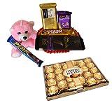 Teddy With Chocolates With 24 Pcs Ferrero Rocher