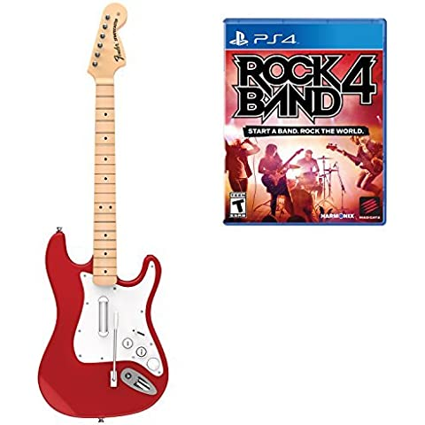 Mad Catz Rock Band 4 Wireless Fender Stratocaster Guitar Controller and Software Bundle for PlayStation 4 - Red by Mad Catz