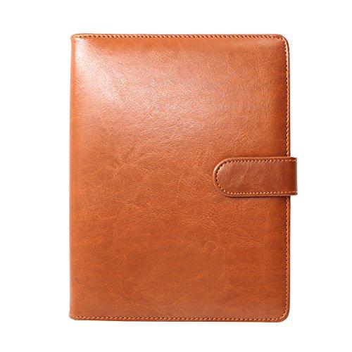 A5Ringbuch Folio PU Leder nachfüllbar Loose Leaf Business Notebook Portfolio Executive Konferenzmappe Travel Portfolio Milchprodukte Notebook 95Seiten braun (4x6 Portfolio-buch)