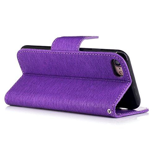 """MOONCASE iPhone 7 Coque, [Impression Ours] Coque Portefeuille [Card Slot] Housse en Cuir Case à rabat avec Béquille pour iPhone 7 4.7"""" Gris Violet"""