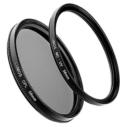 LUMOS 58mm Polfilter + MC UV-Filter | Zubehör Set für Canon Kamera Objektiv mit Ø58 Gewinde | Filterset Glas - Metallfassung 58 mm