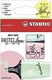 Textmarker - STABILO BOSS MINI Pastellove - 3er Pack - zartes Türkis, rosiges Rouge, Hauch von Minzgrün