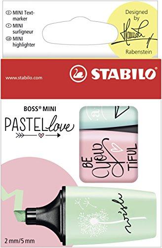 Stabilo boss mini pastellove evidenziatore colori carta da zucchero, rosa antico, verde menta - confezione da 3