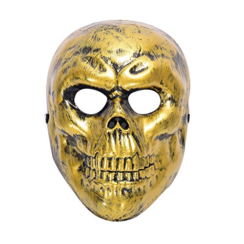 Maske Loveso Halloween Masquerade Ghosts Evil Skull Mask Cosplay Horror Face Head Mask Fancy Party _Golden