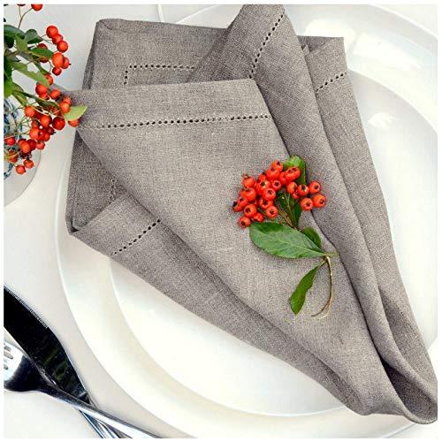 Linen & Cotton 4 x Luxus Stoffservietten FLORENCE mit Hohlsaum - 43cm x 43cm, 100% Leinen (Natur/ Grau/ Beige)