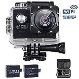 FHD 1080P WiFi Action cam Digital Unterwasserkamera 170° Weitwinkel,2 1050mAh Akkus Helmkamera für Fahrrad,Kinder,Motorrad,Auto,Helm,Drohne, Kopf, Unterwasser, Schwimmen, Surfen, Tauchen und andere Outdoor-Sportaktivitäten