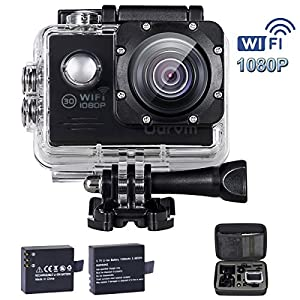 ODRVM WiFi Action Camera Full HD 1080P Underwater Camera with 170 Degree Wide View Angle, 2 Free Batteries, Portable Handbag and 19 Accessories Kits for Kids, Bike, Pets, Snorkelling, Children, Fishing