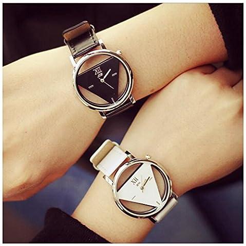 Lintimes Mode Homme Femme montre Triangle à quartz analogique Couple d'étudiants Montre-bracelet 2pcs Noir