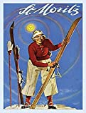 St Moritz Swiss Alps Ski Skiing Holiday Old Classic Travel Vintage Advert. Retro, 1930s, Deco. Ideal for kitchen, living room, office, travel agents, pub and restaurant. Fridge Magnet