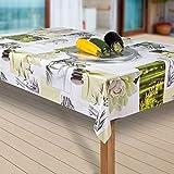 laro Wachstuch-Tischdecke Wachstischdecke Tischwäsche Abwaschbar Meterware Wachstuchdecke G04, Muster:Blumen Weiss-grün, Größe:140x300 cm