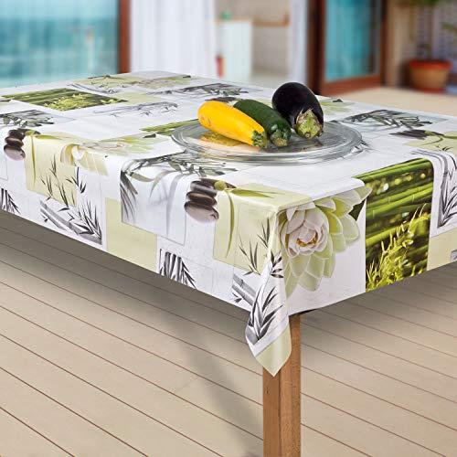 laro Tischdecke Wachstuch Tischläufer Wachstischdecke PVC abwaschbare Tischdecke Wasserabweisend Schutz G04, Muster:Blumen Weiss-grün, Größe:80x100 cm