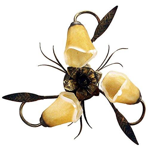 Onli forgiata - lampada da soffitto 3 luci, vetro opaco color ambra, metallo marrone spennelato oro