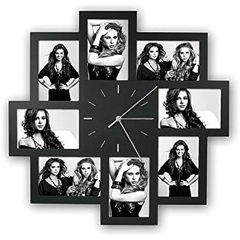 Zep S.r.l PC008B Horloge Murale avec 8 Photos Noir 10 x 15 cm