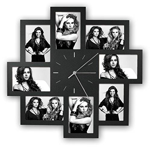 Foto-Uhr Trieste schwarz für 8 Fotos 10x15cm, aus Kunststoff, zum Hängen