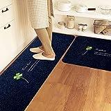 KaO0YaN Fußmatte, Rutschfest, Indoor/Outdoor Küche Bodenmatte Wasser und Öl Beweis gepolsterte Badezimmer Matte, 50cm × 120cm, blau 2